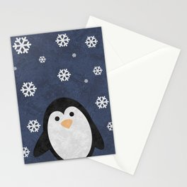 Christmas Penguin Marble Stationery Cards
