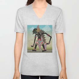 Wayang or shadow puppets Unisex V-Neck