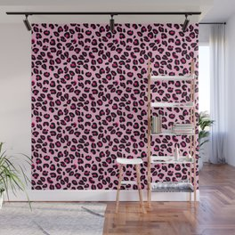 Cotton Candy Pink and Black Leopard Spots Animal Print Pattern Wall Mural