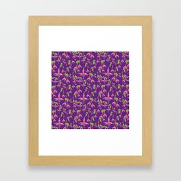 Watercolour Fuchsia Flower Pattern - Purple Framed Art Print