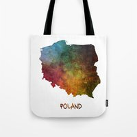 poland Tote Bags featuring Poland map  by jbjart