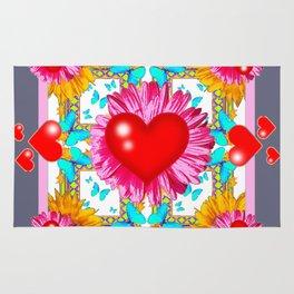Red Hearts Valentines & Pink Flowers Art Grey Patterns Rug