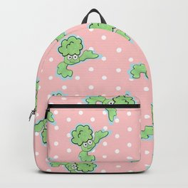 Smiling Broccoli in a pink background Backpack