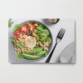 Top view of a healthy vegan lunch bowl Metal Print