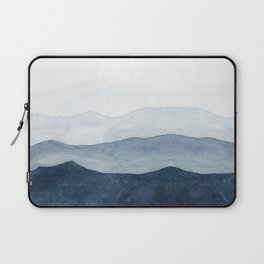Indigo Abstract Watercolor Mountains Laptop Sleeve
