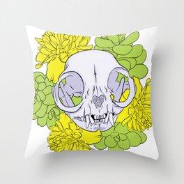 Persian Kitty Skull Throw Pillow