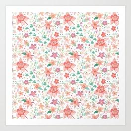 Columbine Meadow Flowers Art Print