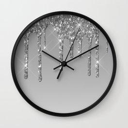 Gray & Silver Glitter Drips Wall Clock