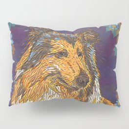 Rough Collie and Blue Flowers Pillow Sham