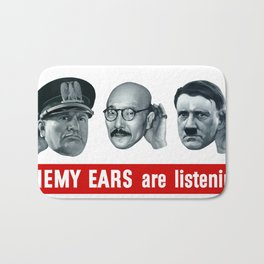 Enemy Ears Are Listening -- WWII Propaganda Bath Mat
