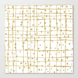 gold and white dots and lines pattern Canvas Print