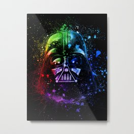 Darth Vader Helmet StarWars Art - Digital Splash Painting Metal Print