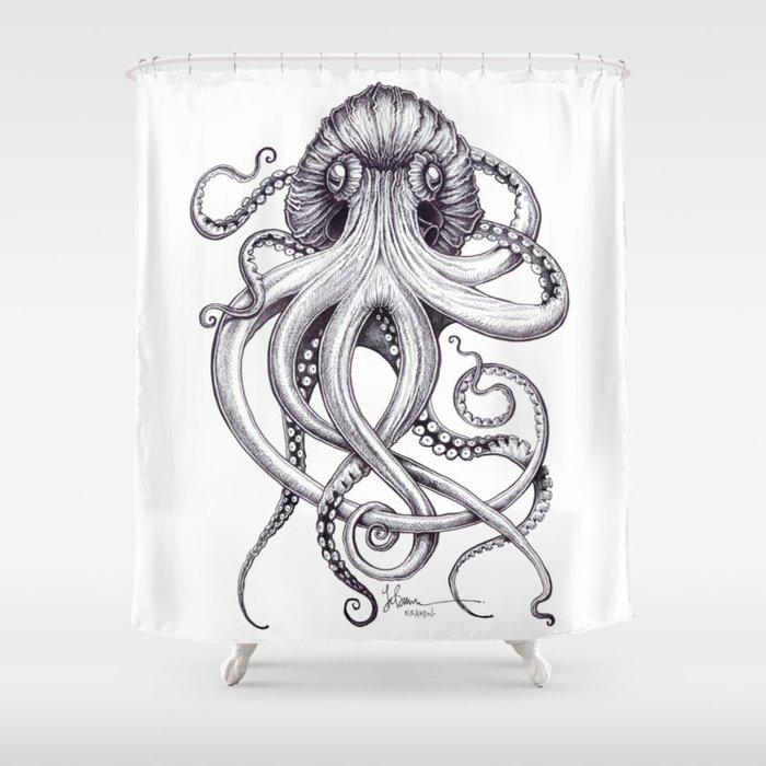 Kraken Shower Curtain By Taojb