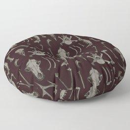 Animal Bones Anatomical Illustration on Dark Red Floor Pillow