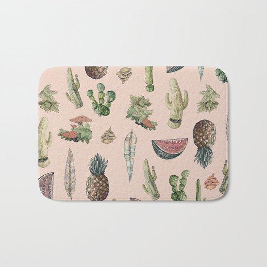 cactus, pinneaples and mushrooms Bath Mat