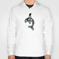 killer whale Hoodies featuring Blue and Black Haida Spirit Killer Whale by Jeff Bartels