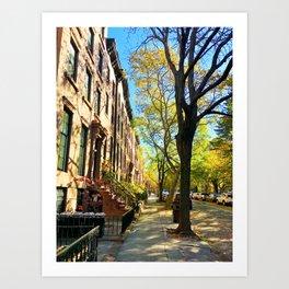 Cobble Hill Brooklyn New York in the Fall, Brownstones Art Print