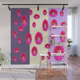 PINK-CERISE ASSORTED FLOATING HOLLYHOCK FLOWERS Wall Mural