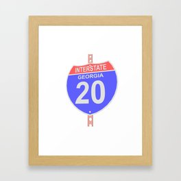 Interstate highway 20 road sign in Georgia Framed Art Print