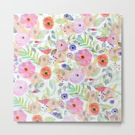 Pretty watercolor hand paint abstract floral Metal Print