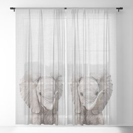 Baby Elephant - Colorful Sheer Curtain