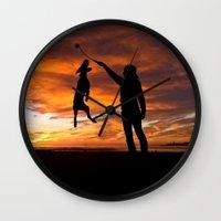 workout Wall Clocks featuring Sunset Workout by Sandy Broenimann