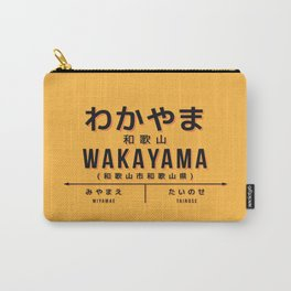 Vintage Japan Train Station Sign - Wakayama City Yellow Carry-All Pouch