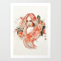 karen hallion Art Prints featuring Karen Gillan by jassinta