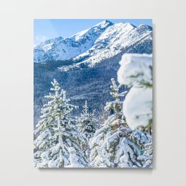 Powder Forest // Through the Trees Blue Snow Cap Mountain Backdrop Metal Print