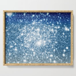 Galaxy Sparkle Stars Deep Blue Silver Ombre Serving Tray