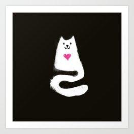 Single white feline Art Print