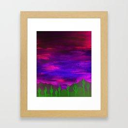 Saguaros Illuminated Framed Art Print