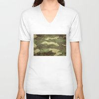 camo V-neck T-shirts featuring Dirty Camo by Bruce Stanfield