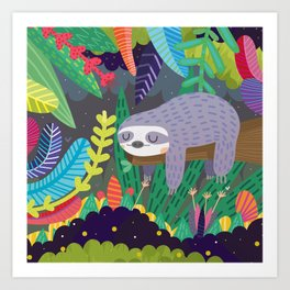 Sloth in nature Art Print