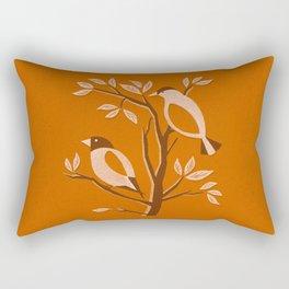 Burnt Orange Mid Century Birds On Branches Rectangular Pillow