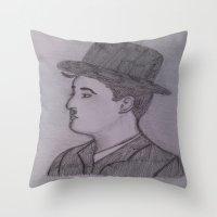 charlie chaplin Throw Pillows featuring Charlie Chaplin by Natasha Lake