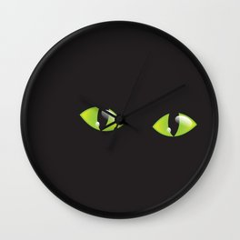 Green Cat Eyes  Wall Clock