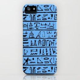 Egyptian Hieroglyphics // Blue iPhone Case