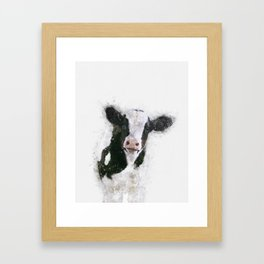 Holstein Cow Watercolor Framed Art Print