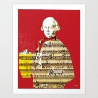 mozart Art Prints featuring Wolfgang Amadeus Mozart by Marko Köppe