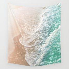 Soft Emerald Beige Ocean Dream Waves #1 #water #decor #art #society6 Wall Tapestry