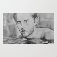 jared leto Area & Throw Rugs featuring Jared Leto on water  by Jenn