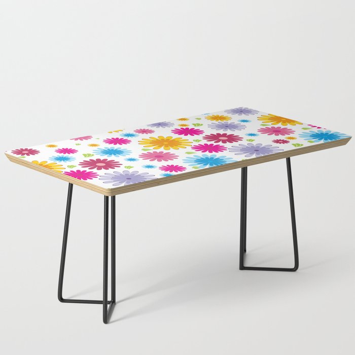 Colorful Modern Coffee Table: Colorful Modern Daisy Flowers Coffee Table By Tlsdesigns