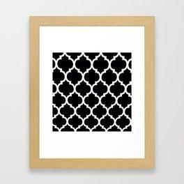 Moroccan Black and White Lattice Moroccan Pattern Framed Art Print