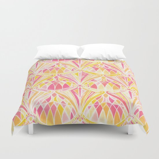 Art Deco Pattern in Pink and Orange Duvet Cover