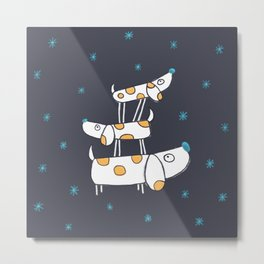 Tower of Dogs in Space Metal Print
