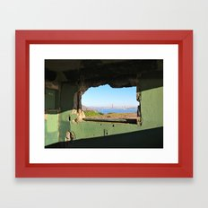 City Through A Window Framed Art Print