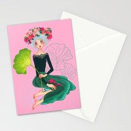 dame de Lotus Stationery Cards