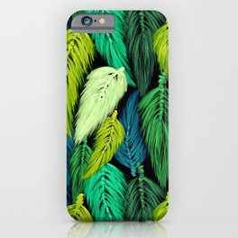 Watercolor Macrame Feather Toss in Black + Green iPhone Case