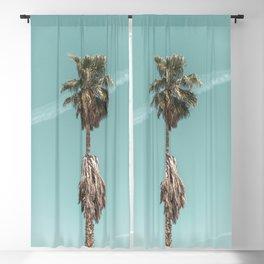 Malibu Beach Palm // California Beach Vibes Teal Ocean Sky Jetstream Photograph Blackout Curtain